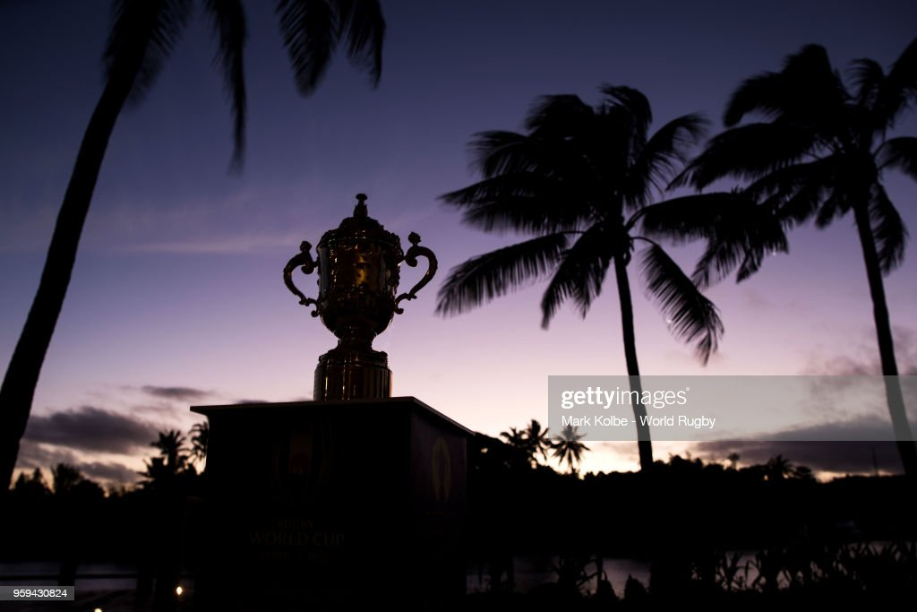 The Webb Ellis Cup is seen on display during Rugby World Cup 2019 Trophy Tour at the The Pearl Resort on May 17, 2018 in Pacific Harbour, Fiji.