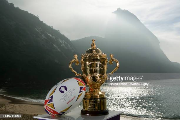 The Webb Ellis Cup pictured at the Sugarloaf Mountain during day one of the Rugby World Cup 2019 Trophy Tour on May 23 2019 in Rio de Janeiro Brazil