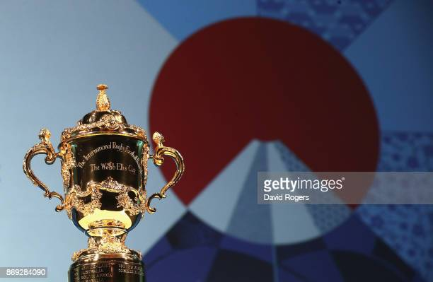 The Webb Ellis Cup pictured during the Rugby World Cup 2019 match schedule announcement at Grand Prince Hotel Shin Takanawa on November 2 2017 in...