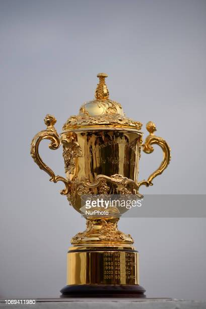 The Webb Elllis Rugby World Cup 2019 Trophy is pictured infront Boudhanath Stupa UNESCO World heritages site during a country tour in Kathmandu Nepal...