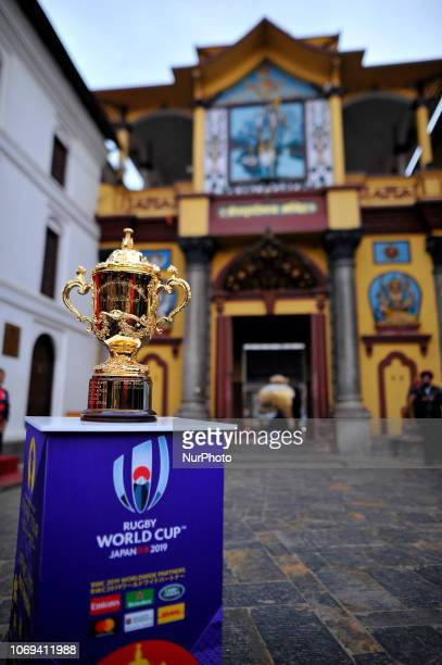 The Webb Elllis Rugby World Cup 2019 Trophy is pictured infront Pashupatinath Temple UNESCO World heritages site during a country tour in Kathmandu...