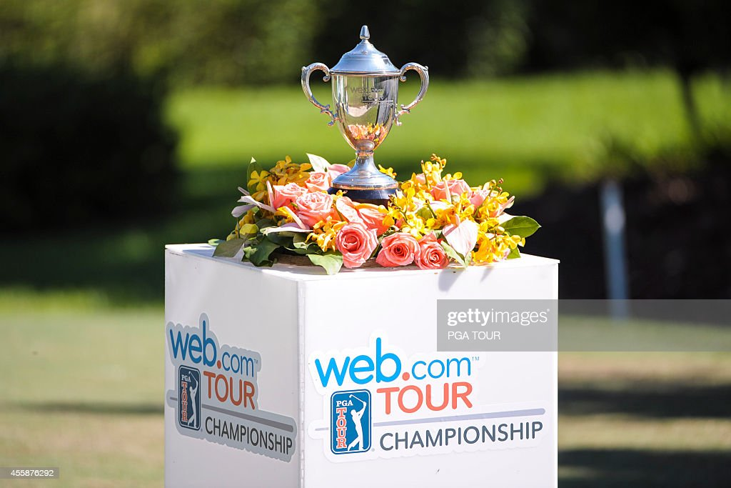 The Web.com Tour Championship trophy sits on display on the first hole tee box during the final round of the Web.com Tour Championship at TPC Sawgrass Dye's Valley Course on September 21, 2014 in Ponte Vedra Beach, Florida.
