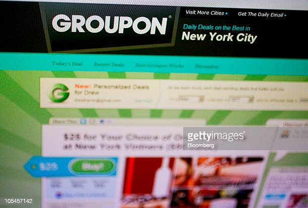 The website of Groupon is displayed on a computer monitor in Washington DC US on Thursday Oct 13 2010 Grouponcom Inc the daily deal website with 20...