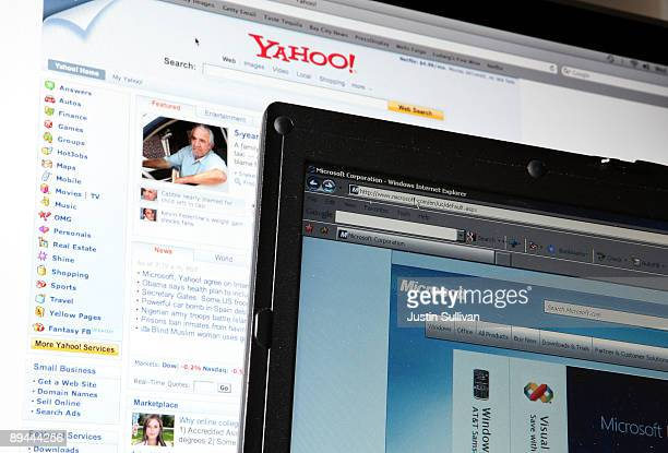 The websites of Microsoft and Yahoo are displayed on computer monitors July 29, 2009 in San Anselmo, California. Microsoft and Yahoo have announced a...