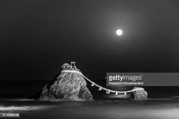 The Wedded Rocks and full moon