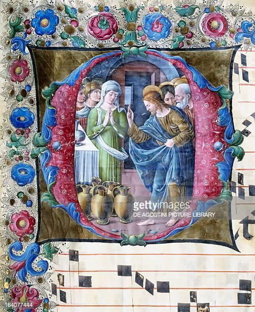 The Wedding at Cana miniature by Girolamo da Cremona and Liberale da Verona antiphonary Italy 15th century
