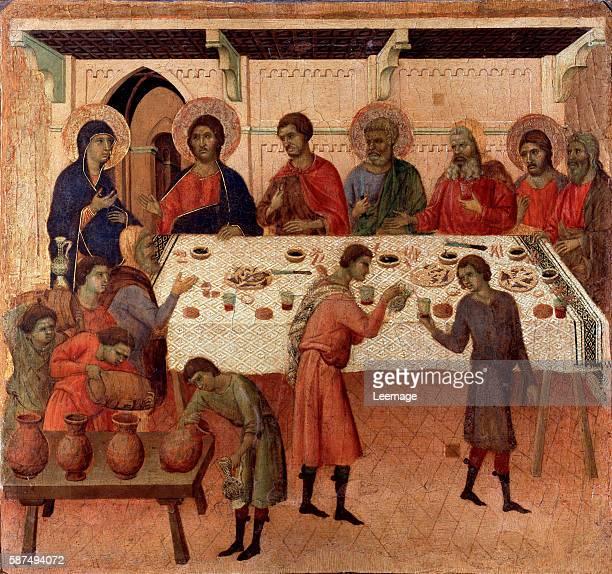 The wedding at Cana Verso of the altarpiece La Maesta Painting by Duccio di Buoninsegna 13081311 Dim 43x455 cm Tempera on panel Museo dell'Opera del...