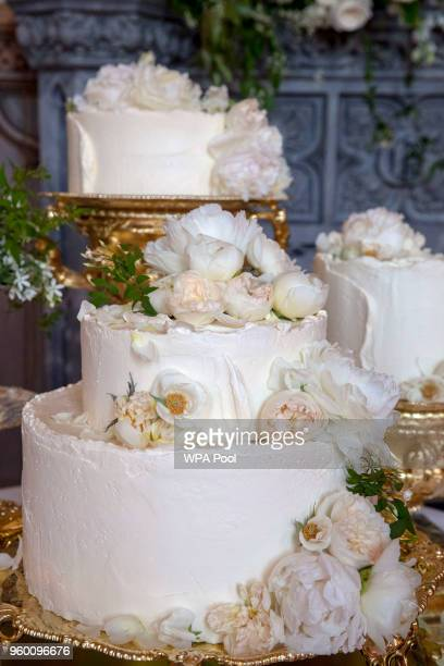 The wedding cake by Claire Ptak of Londonbased bakery Violet Cakes in Windsor Castle for the royal wedding of Meghan Markle and Prince Harry on May...