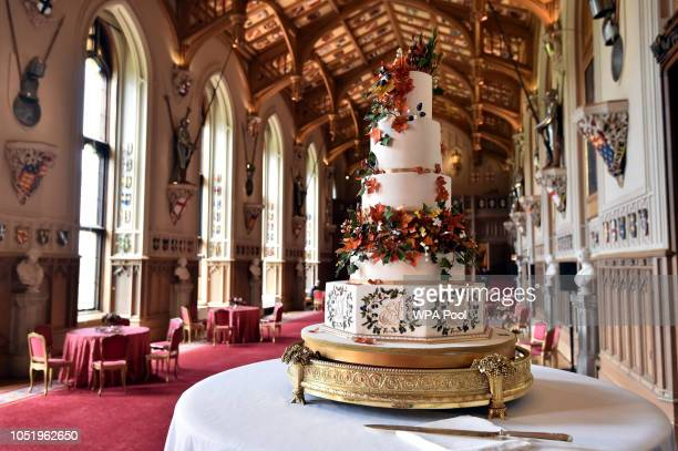 The wedding cake, which was created Sophie Cabot for the wedding of Princess Eugenie of York and Mr. Jack Brooksbank pictured in St. George's Hall at...