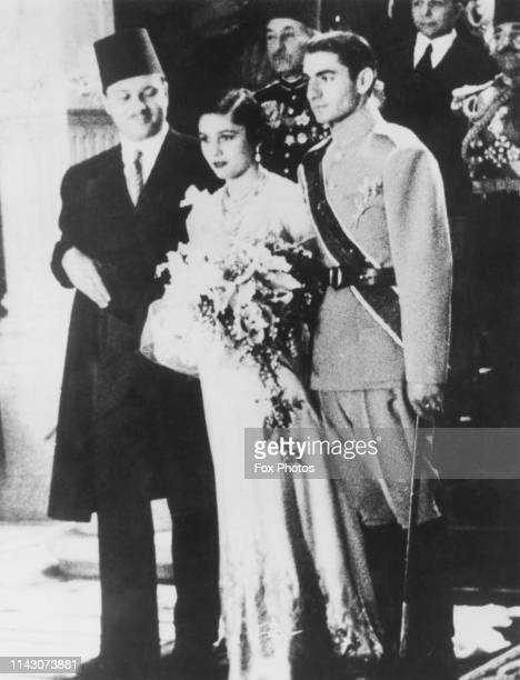 The wedding ceremony of Mohammad Reza Pahlavi , Crown Prince of Iran, and Princess Fawzia of Egypt at Abdeen Palace in Cairo, Egypt, 15th March 1939....