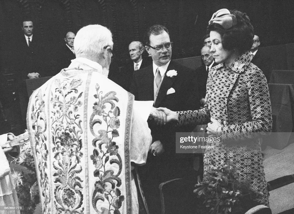 The wedding ceremony of Prince Eugen of Bavaria and Helena von Khevenhuller-Metsch in Hofkirche, Innsbruck, November 23rd 1970.