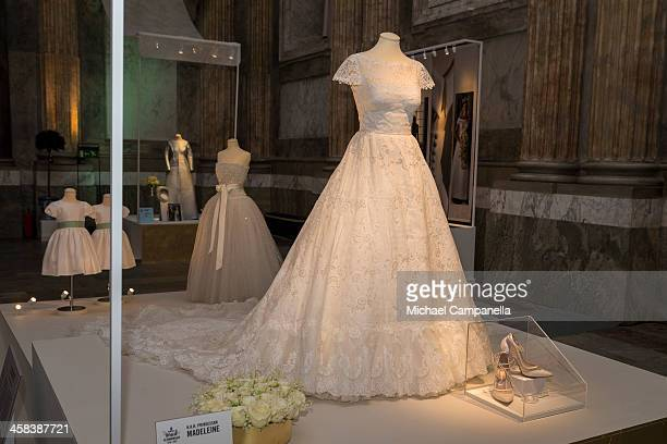 The wedding dress of Princess Madeleine of Sweden designed by Valentino Garavani is seen on display during an exhibition at the Royal Palace on...