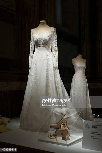 The wedding dress of Princess Sofia of Sweden designed by Ida Sjostedt is seen on display during an exhibition at the Royal Palace on October 17 2016...