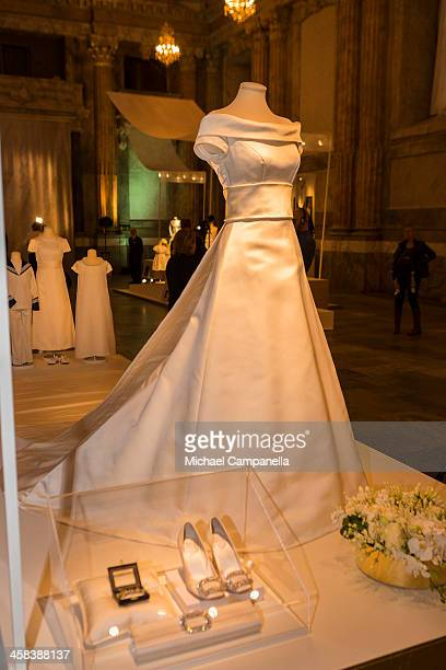 The wedding dress of Princess Victoria of Sweden designed by Pär Engsheden is seen on display during an exhibition at the Royal Palace on October 17...