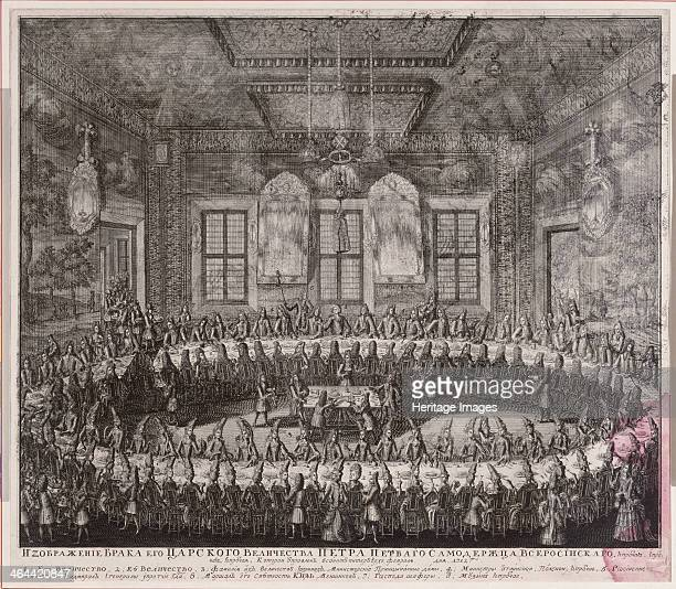 The Wedding Feast of Peter I and Catherine in the Winter Palace in St. Petersburg on February 19 1712. Found in the collection of the State...