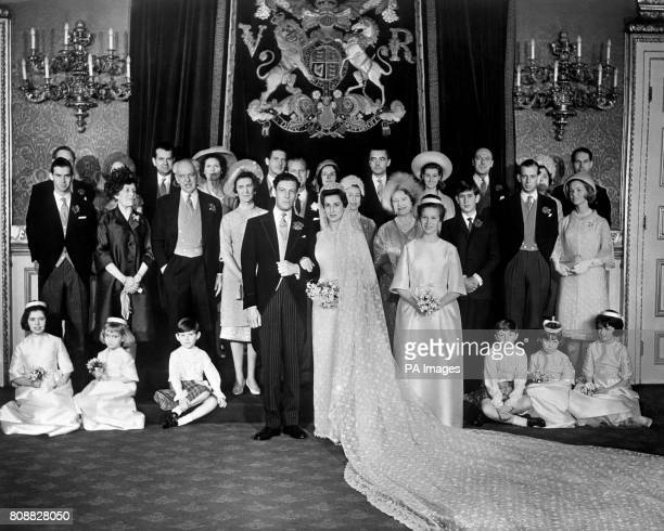 The wedding group at St James's Palace London during the reception following the wedding of Princess Alexandra and Angus Ogilvy Left to right back...