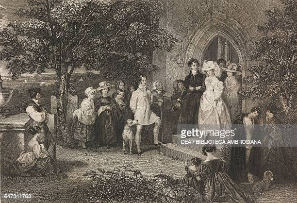 The wedding illustration from Gallery of Graces with illustrations from Heath's Book of Beauty ca 18301840