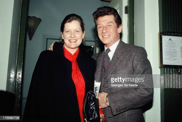 The wedding of actor John Hurt and his new wife Jo Dalton on January 24 1990 in London England