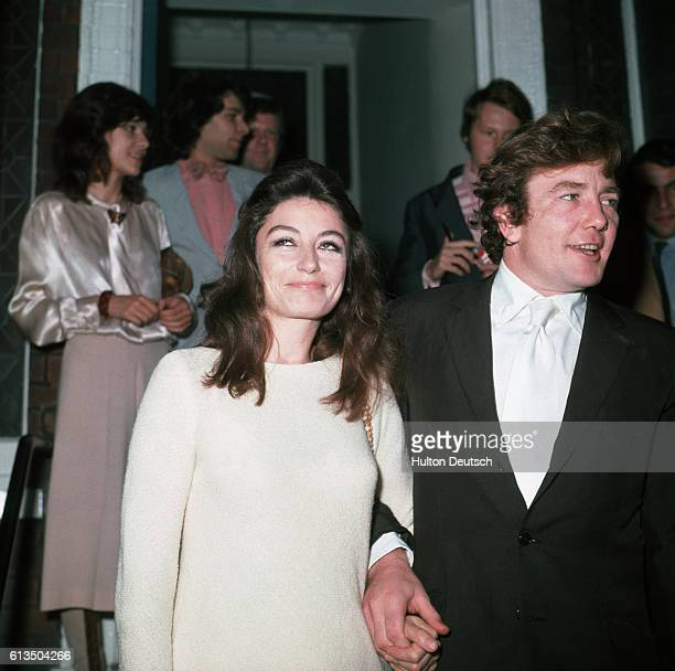 The wedding of actress Anouk Aimee and actor Albert Finney at Kensington registry office in 1970