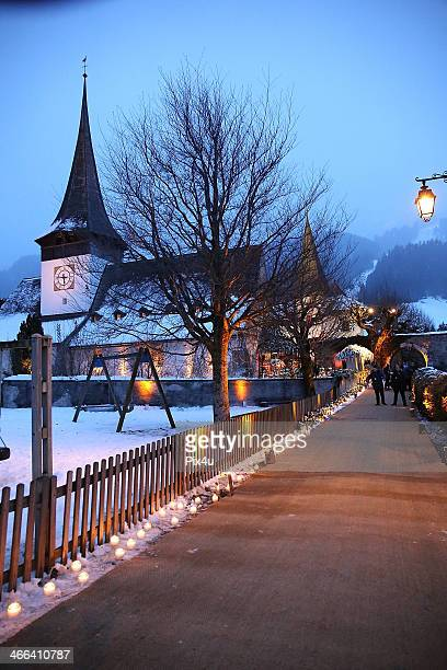 The wedding of Andrea Casiraghi And Tatiana Santo Domingo at the Rougemont church on February 1 2014 in Gstaad Switzerland