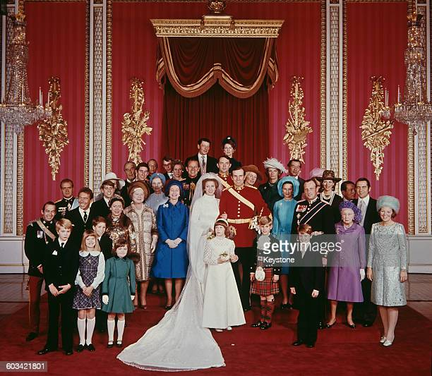 The wedding of Anne, Princess Royal to Mark Phillips, London, UK, 14th November 1973. Also pictured are Queen Elizabeth II, the Queen Mother,...