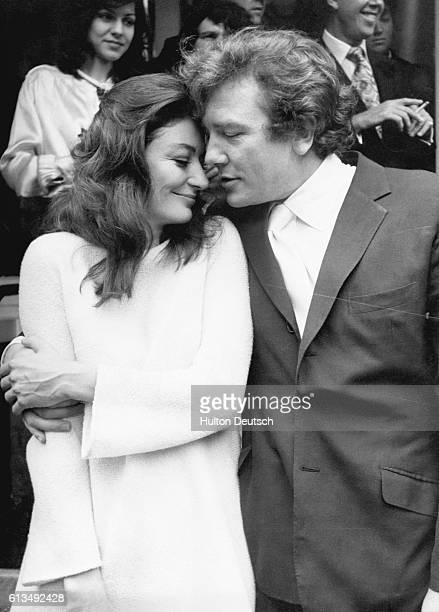 The wedding of Anouk Aimee and Albert Finney at Kensington registry office in 1970