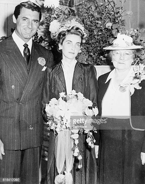 The wedding of Barbara Hutton and Cary Grant Mademoiselle Tocquet Hutton's governess and companion stands with the bride and groom