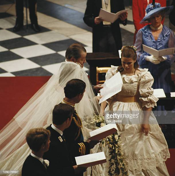 The wedding of Charles Prince of Wales and Lady Diana Spencer at St Paul's Cathedral in London 29th July 1981 Prince Edward and Prince Andrew are...
