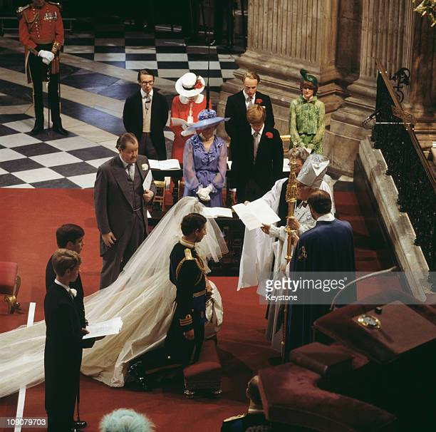 The wedding of Charles Prince of Wales and Lady Diana Spencer at St Paul's Cathedral in London 29th July 1981 Prince Andrew and Prince Edward are...
