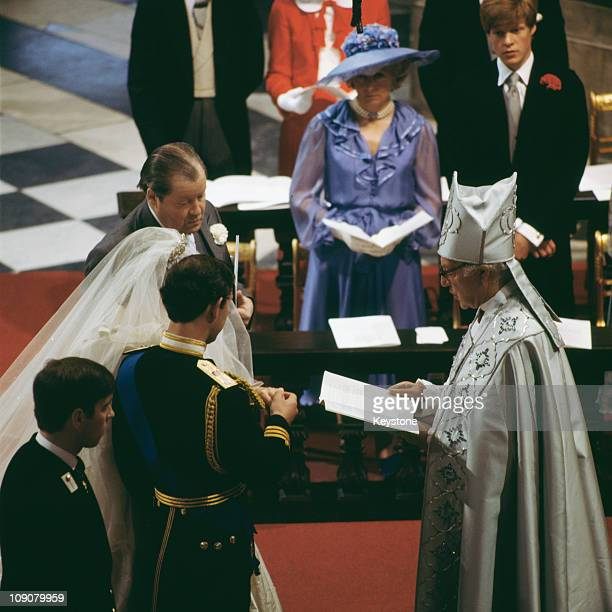 The wedding of Charles Prince of Wales and Lady Diana Spencer at St Paul's Cathedral in London 29th July 1981 Prince Andrew is beside his brother...