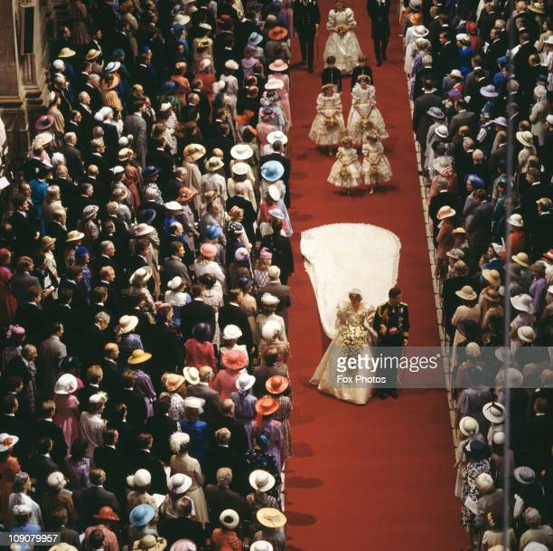 The wedding of Charles Prince of Wales and Lady Diana Spencer in St Paul's Cathedral London 29th July 1981 The bride and groom leave the cathedral...