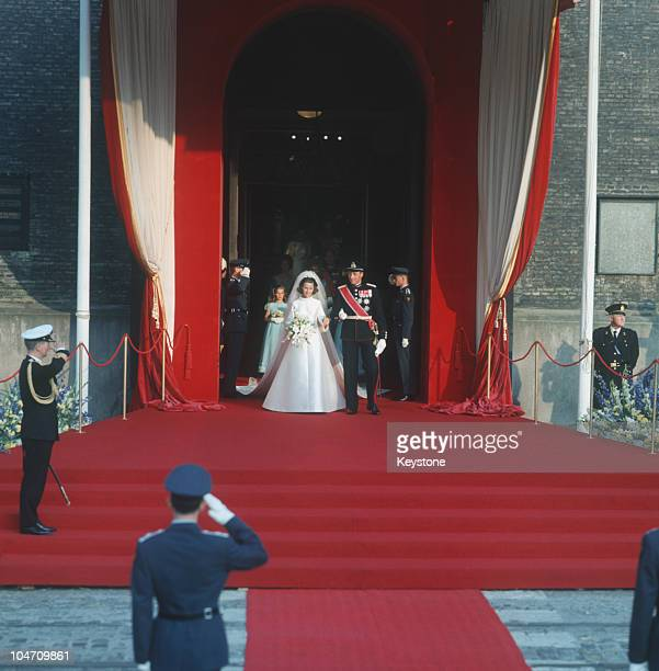 The wedding of Crown Prince Harald of Norway and Sonja Haraldsen at Oslo Cathedral on August 28, 1968.