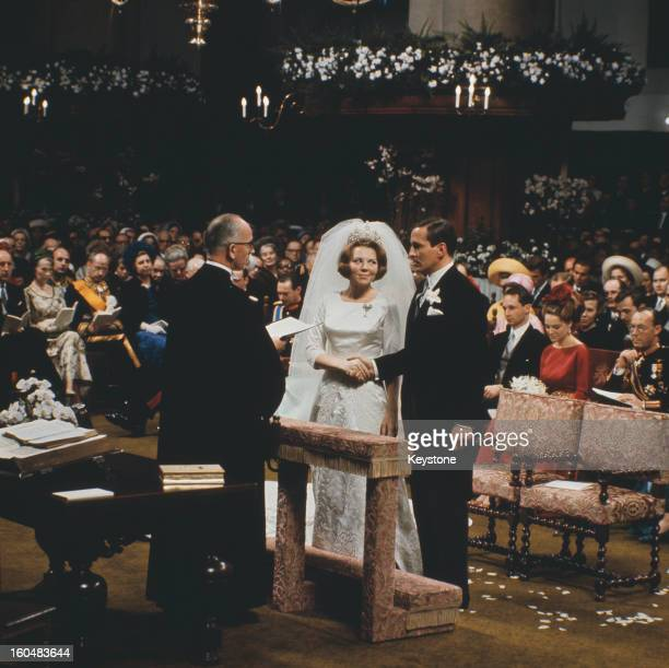 The wedding of Crown Princess Beatrix of the Netherlands to Claus von Amsberg in the Town Hall in Amsterdam, Holland, 10th March 1966.