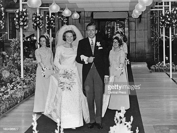 The wedding of Crown Princess Beatrix of the Netherlands to Claus von Amsberg at the Town Hall in Amsterdam Holland 10th March 1966