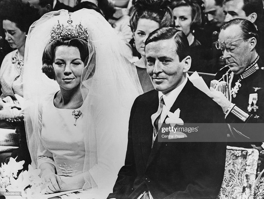 The wedding of Crown Princess Beatrix of the Netherlands to Claus von Amsberg (1926 - 2002) in the Westerkerk in Amsterdam, Holland, 10th March 1966.