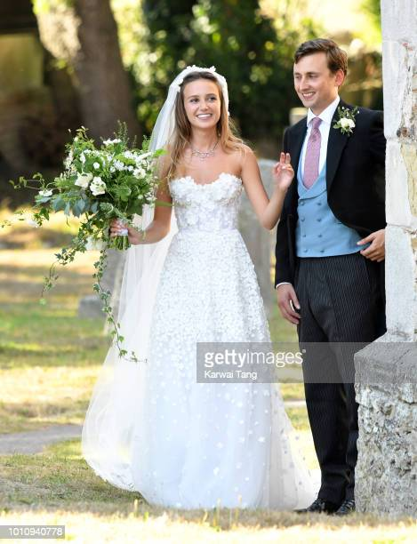 The wedding of Daisy Jenks and Charlie Van Straubenzee at Saint Mary The Virgin Church on August 4, 2018 in Frensham, United Kingdom. Prince Harry...