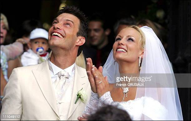 The wedding of Elodie Gossuin and Bertrand LacherieElodie Gossuin and Bertrand Lacherie leave the church after the religious ceremony in Compiegne...
