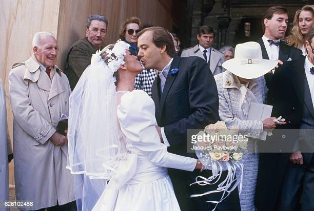 The wedding of JeanMarie Le Pen's daughter Yann and Didier Zink in Saint Cloud France 28th March 1987