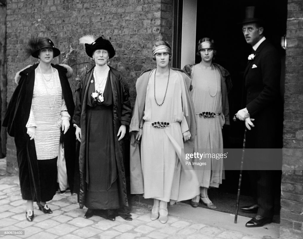 The wedding of Lady Louise Mountbatten and the Crown Prince of Sweden at the Chapel Royal, St. James's Palace. The Dowager Marchioness of Milford Haven with two of the bridesmaids - Princess Margaret of Greece and Princess Theodora of Greece - and Prince and Princess Andrew of Greece.