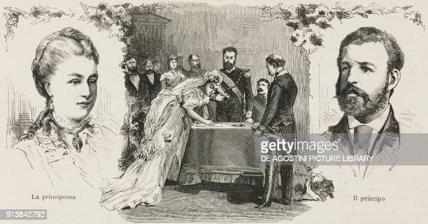 The wedding of Louise of Belgium Duchess of SaxeCoburg and Gotha with Philipp of Saxony Prince of SaxeCoburg and Gotha and their portraits...