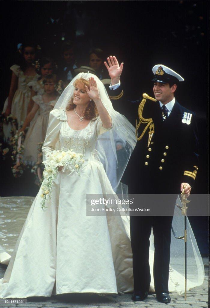 The wedding of Prince Andrew, Duke of York, and Sarah Ferguson at Westminster Abbey, London, UK : News Photo