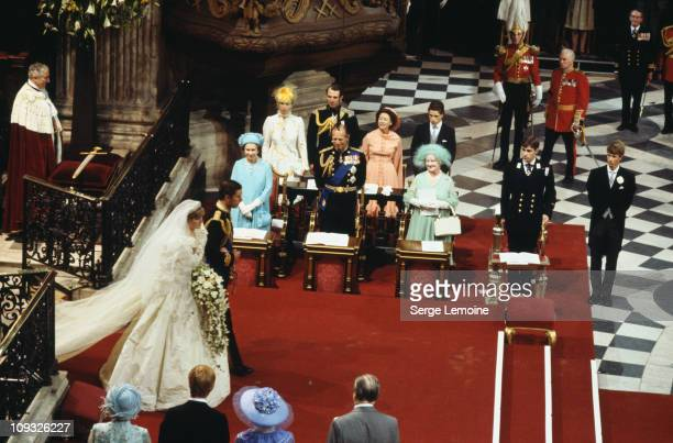 The wedding of Prince Charles and Lady Diana Spencer at St Paul's Cathedral in London 29th July 1981 Behind them are Queen Elizabeth II Prince Philip...