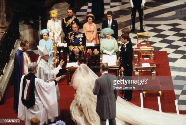 The wedding of Prince Charles and Lady Diana Spencer at St Paul's Cathedral in London, 29th July 1981. Behind them are Queen Elizabeth II, Prince...