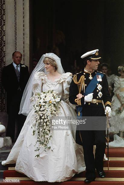 The wedding of Prince Charles and Lady Diana Spencer at St Paul's Cathedral in London, 29th July 1981. The couple leave the cathedral after the...