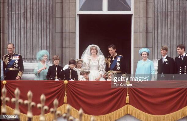 The Wedding Of Prince Charles To Diana Spencer The Wedding Party On The Balcony Of Buckingham Palace After The Ceremony Prince Philip The Queen...