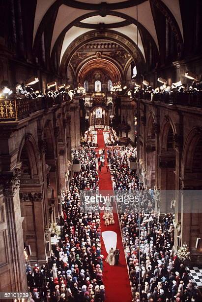 The Wedding Of Prince Charles To Lady Diana Spencer Held At St Paul's Cathedral In London. A General View Of The Prince And Princess Of Wales Walking...