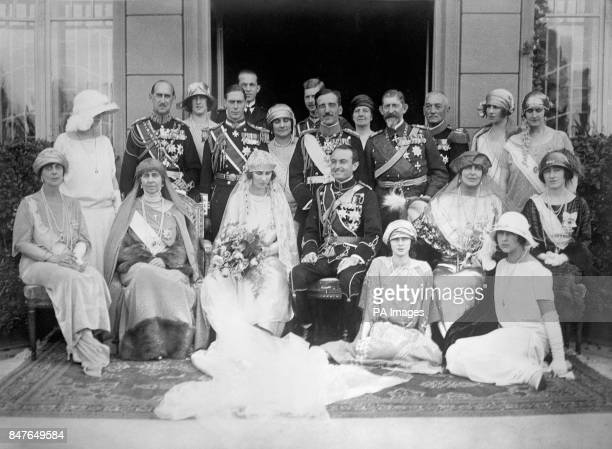 The wedding of Prince Paul of Serbia and Princess Olga of Greece and Denmark in the Chapel of the Old Palace Belgrade Sitting left to right Princess...