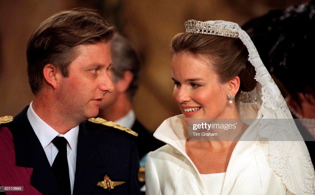 The Wedding Of Prince Philippe Of Belgium And Miss Mathilde D'udekem D'acoz. Look Of Love Between Bride And Groom..