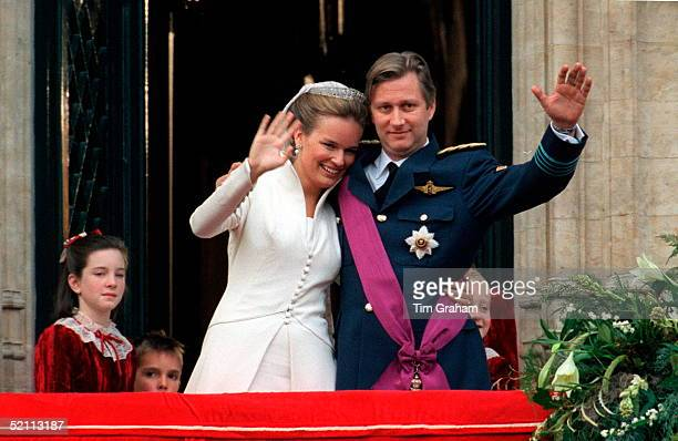 The Wedding Of Prince Philippe Of Belgium And Miss Mathilde D'udekem D'acoz. The Bride And Groom At The Town Hall.