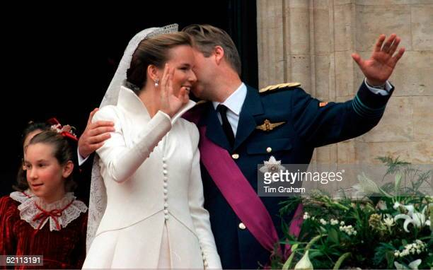 The Wedding Of Prince Philippe Of Belgium And Miss Mathilde D'udekem D'acoz. The Bride And Groom Kiss On Their Wedding Day